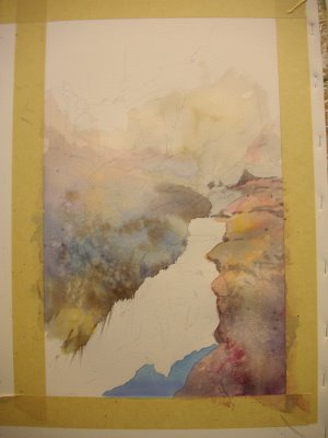 Photo 1 step by step watercolor demonstration by Roland Lee of painting of Zion Canyon