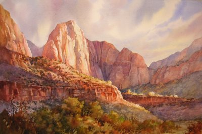 Roland Lee painting of Zion National Park,5 minutes of Fame, 12 x 29