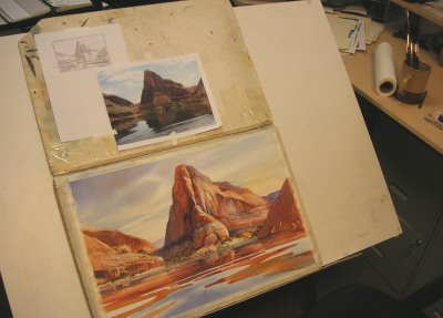 Moki Canyon watercolor painting by Roland Lee at Lake Powell