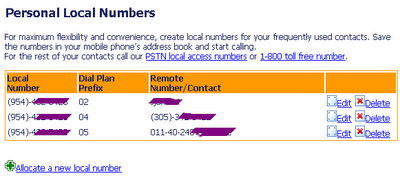 Personal local numbers