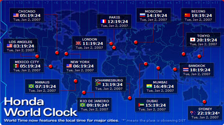 World time clocks visual guide to time around the world dhl world clock a java based world time clock developed by a logistics company dhl move your mouse pointer over the world map and pop up boxes will gumiabroncs Gallery