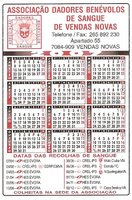 Calendário 2007 das Colheitas de Sangue em Vendas Novas