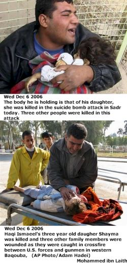 Fathers with their dead children in Iraq