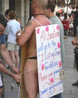 nude man sandwich board