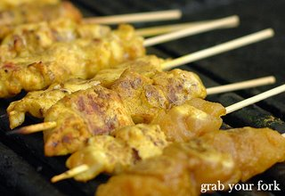 chicken satay on bbq