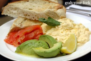 gravlax salmon, avocado and scrambled eggs