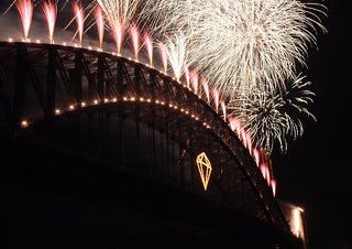 Sydney nye midnight fireworks from harbour bridge