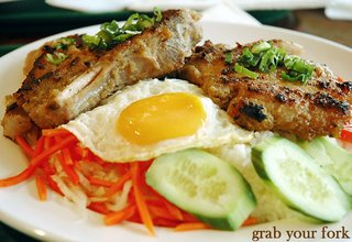 bbq pork chop with egg