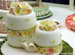 wedding cake with frangipani