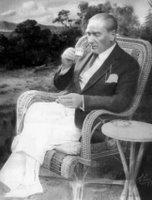 Mustafa Kemal Atatürk drinking Turkish coffee