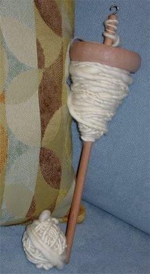 handspun yarn on spindle
