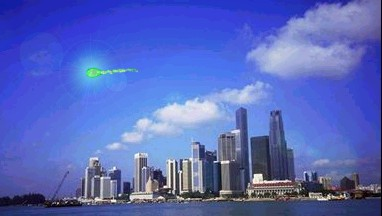 Green Fireball Over Singapore