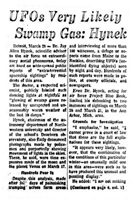 UFOs Very Likely Swamp Gas - Hynek - Daily News 3-26-1966 (A)