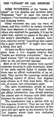 The Attack on Los ANgeles - Reno Evening Gazette, Feb. 26, 1942