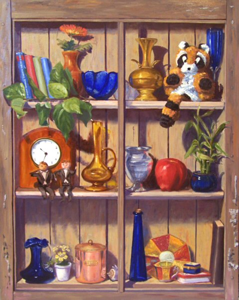 Hudson valley painter the wall shelf 30x24 oils on for Shelf life of paint