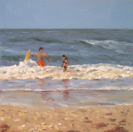 Kids On The Beach In Oils