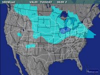 Left: The storm track shows the blizzard headed directly for Toledo; image courtesy of Intellicast.com