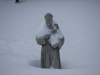 Statue of St. Francis of Assisi in the middle of the Blizzard of 2007