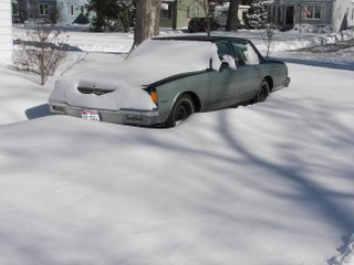 A car buried under snow during the Blizzard of 2007
