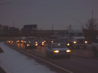 Rush hour traffic on southbound I-75 in Toledo