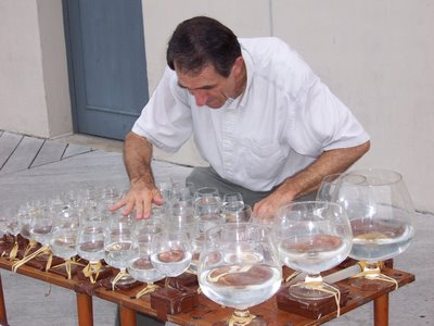 Glass harp virtuoso Jamey Turner on the Alexandria waterfront
