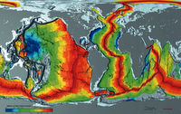 oceanic rocks arise in the oceanic ridge system; color scale shows ages in Ma