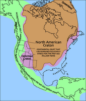 The North American Craton (brown) or Laurentian Shield or Canadian Shield has comprised a portion of a series of supercontinents, and has remained stable for about 600 million years