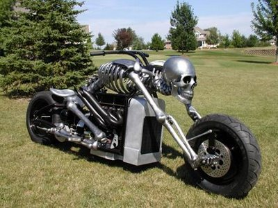 built a homemade motorcycle with skeleton