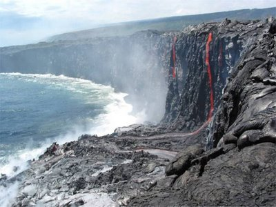 lava reaching the sea