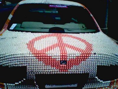 old keyboard covered to car