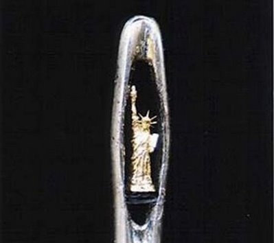 statue of liberty in needle hole art