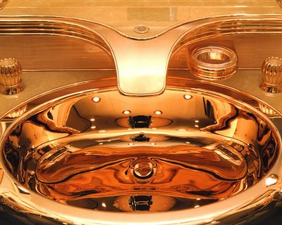 gold sink in airplane toilet