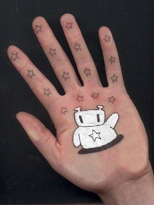 ball pen point art on palm