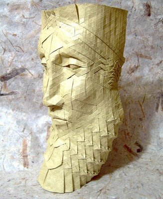 face statue made for folding papers