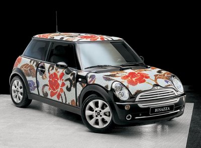 beatiful mosaic covered on mini cooper
