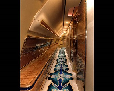 airplane corridor with nice decorated carpet