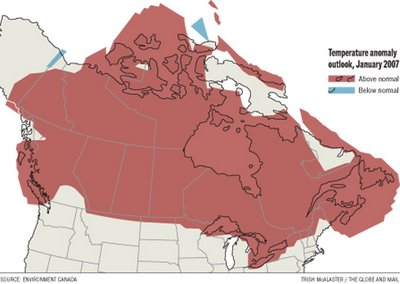 [Canada abnormal temperature map]