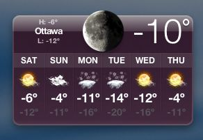 [ottawa winter temp]