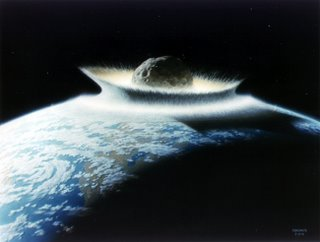 Nasa impression of an asteroid strike