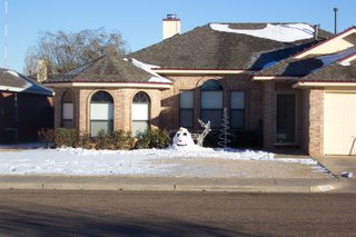 Let it snow!  My neighbors across the street built a snowman.