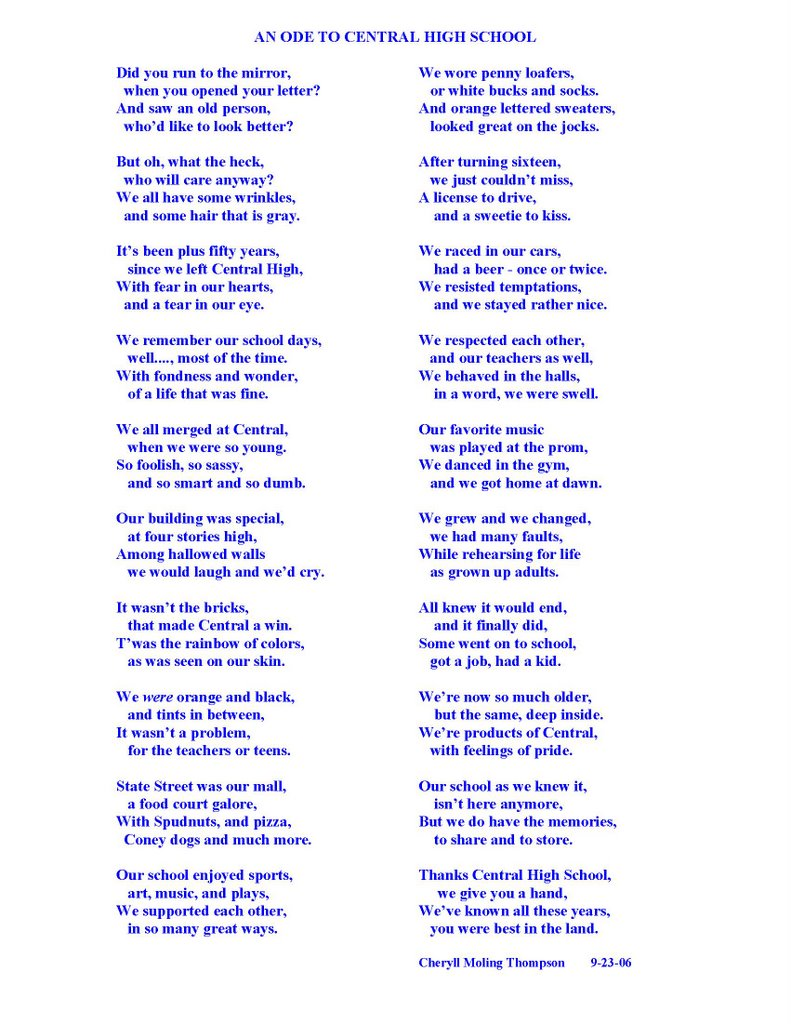 Madison Central High School History (1854-1969): A poem written ...