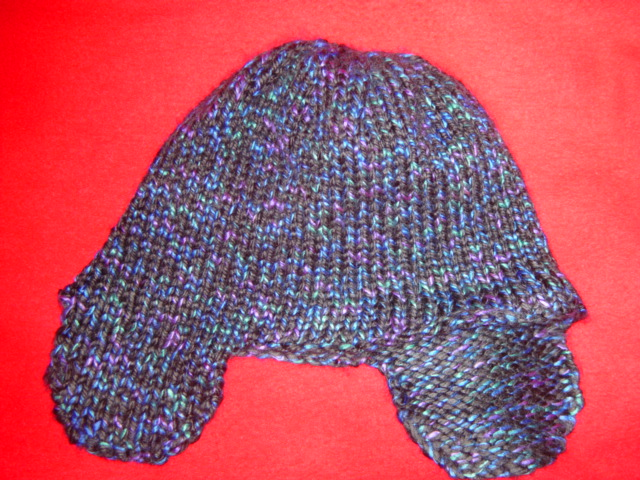 Earflap Hat Knitting Pattern Bulky Yarn : Karens Knitting: Black Lites earflap hat
