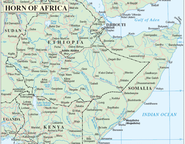 Horn of Africa Map Horn of Africa wp Quot Ethiopia