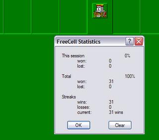 freecell winning streak at 31