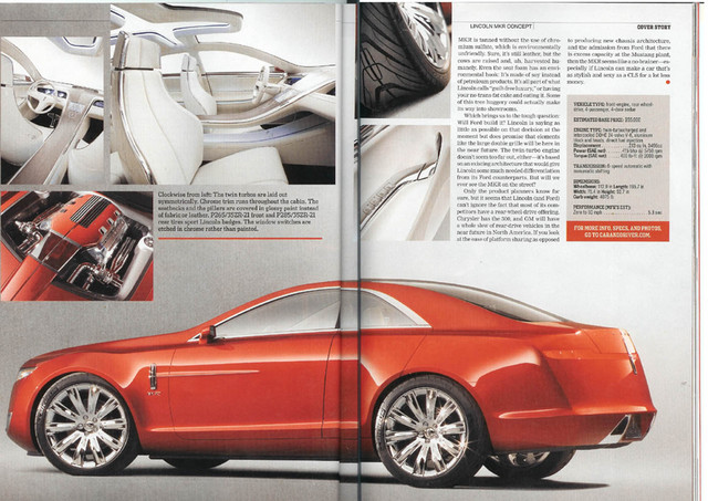 l2 Lincoln MKR– 415 Hp, twin turbocharged, rear wheel drive Detroit concept