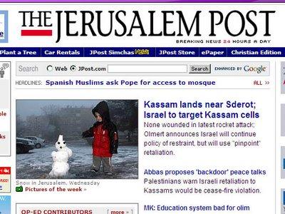 nieve en Jerusalen