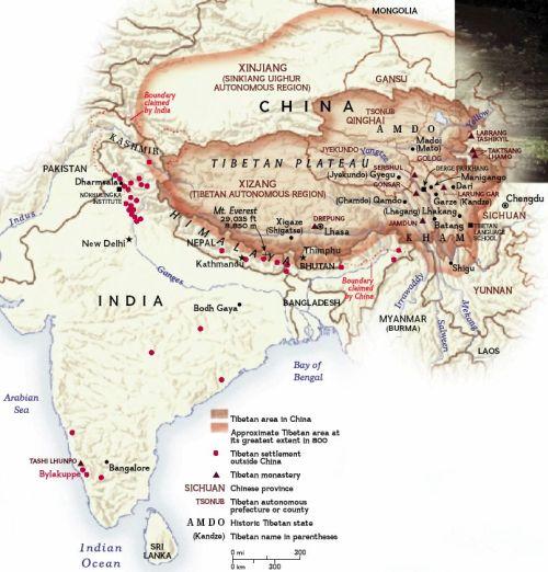 Tibet region map
