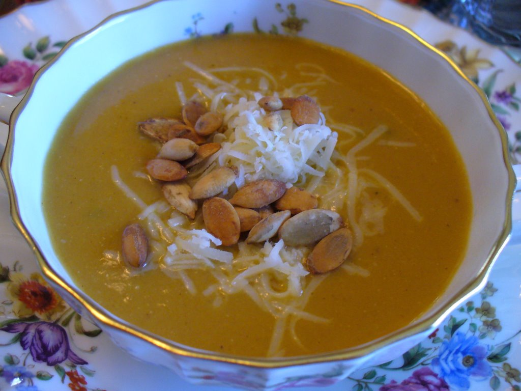 Bruce's Pumpkin Soup with Pumpkin Seeds and Grated Gruyere Cheese