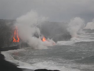 Lava flowing into the sea, the Big Island, Hawaii.