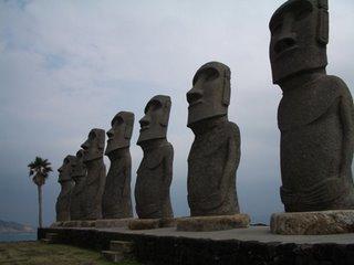 Moai statues at Sun Messe, Miyazaki Prefecture